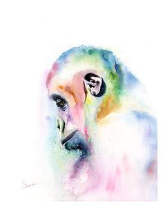 Spirit gorilla watercolor painting by artistericsweet on DeviantArt