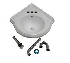 Bathroom #Corner #Sink White China Wall Mount Drain/p-trap # 17636 Shop --> http://www.rensup.com/Corner-Sinks/Corner-Sink-White-Vitreous-China-Corner-Sink-White-Portsmouth-with-Dra/pd/17636.htm?CFID=1300087&CFTOKEN=7f2e3d8166c0908b-F054D294-F035-BA2E-74C9B1EECE8DF9C4