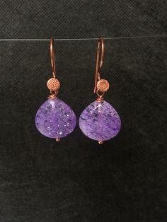 Rose Gold Purple Quartz Earrings.