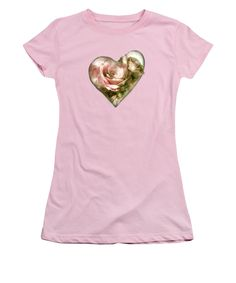 Heart Of A Rose - Antique Pink Juniors T-Shirt featuring the art of Carol Cavalaris.