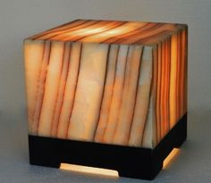 Natural Stone Table Lamp Onyx/alabaster Modern cube mood light Amber exotic #InspiredStoneWork #Modern