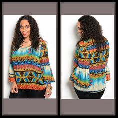 Tribal Bell Sleeve Top/Curvy/Sale was $30 – The Purple Paisley Boutique