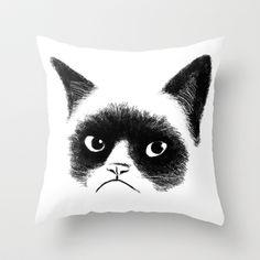Grumpy Cat Throw Pillow by Tummeow - $20.00