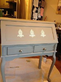 Old oak desk refished in French Linen Chalk Paint® decorative chalk paint by Annie Sloan and stenciled in Old White Chalk Paint   ~Linfield Design NOLA