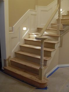 This is update on stair case system. Materials used were:Calico Hickory treads, Poplar handrail and posts, wrought iron. Tile Stairs, Carpet Stairs, Stair Wall Decor, Outdoor Stair Railing, Foyer Staircase, Open Stairs, Stair Lighting, Stairs Architecture, Interior Stairs