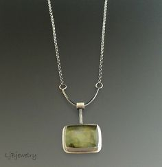 Prehnite Necklace Sterling Silver Silver Necklace by LjBjewelry. (Bail.)
