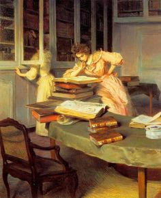 Elegant Women in a Library (c. late Edouard Gelhay (French, Oil on canvas. Two women are obviously engaged in scholarly pursuits in what appears to be the family library. Reading Art, Woman Reading, I Love Reading, Reading Books, Reading Time, People Reading, Book People, I Love Books, My Books