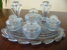 Vintage Art Deco, Depression Blue Glass Dressing Table Set , 7pieces ...