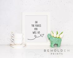 Oh the Places Print, Nursery Print, Lettered Print, Nursery Quote, Airplane Print, Nursery Art, Nursery Quote by BeholdenPrints on Etsy https://www.etsy.com/listing/235704613/oh-the-places-print-nursery-print