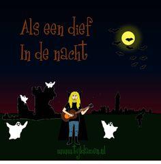 Griezelliedje van Tijl Damen over Dieven en Boeven. Sst! Tekst en akkoorden: http://tijldamen.nl/kinderliedjes/griezelen/boeven-en-dieven