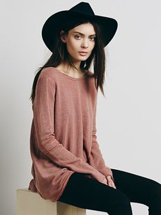 Free People Low Back Shirred Pullover