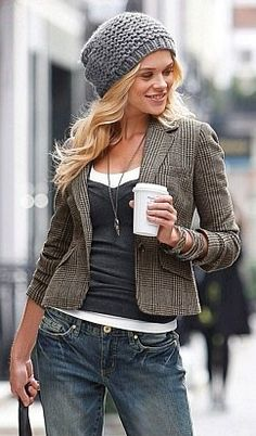 like the hat.... like the blazer.... but its the coffee that makes the outfit! :)