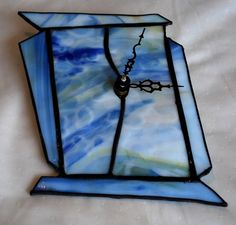BLUE stained glass CLOCK by CreativeGlassStudio on Etsy, $46.00