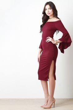 Bell Sleeve Bardot Midi Dress