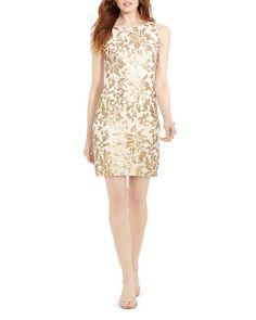 Lauren Ralph Lauren Sequin Lace Sheath Dress