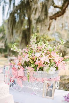 baby carriage flower centerpiece