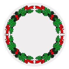 Ribbon And Holly Round Tablecloth