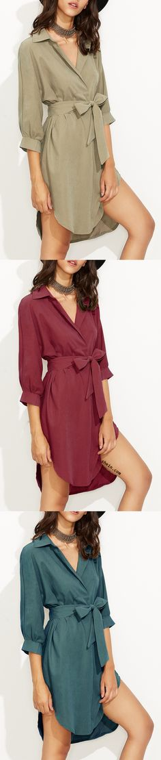 Shirt dress for any season. Love khaki most. 40% off 1st order from shein.