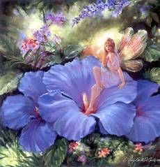 blue flower sitting fairy