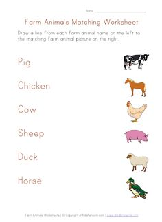 Farm Animals Worksheets for Kids