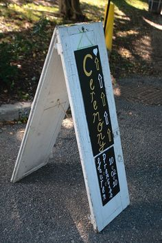 Vintage shutter sandwich board...use the chalkboard signs or hang a poster or other personal piece from it.