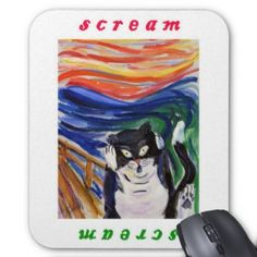 Kitty Scream with Scream Text Mousepad