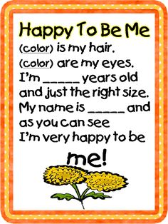 """So perfect for the beginning of the year! I'm happy to be me poem. Would be great follow up to """"Chrysanthemum""""."""