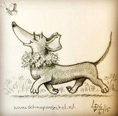Illustration d'Animaux - Un Teckel, la Truffe au Vent, qui suit un Papillon