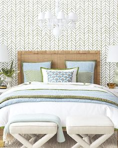 We love how a blue and green sheet set complements the chevron wallpaper in this chic bedroom with a rattan bed and upholstered stools. Girls Bedroom, Home Bedroom, Master Bedroom, Bedroom Decor, Wall Paper Bedroom, Bali Bedroom, Bedroom Closets, Bedroom Office, Master Closet