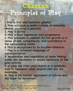 Principles of Play: from Chazan - Play Dr Mom... The state of play is also the creative state. If we are not playing while creating, then we are in our left (analytical) brain and not in a truly creative state.