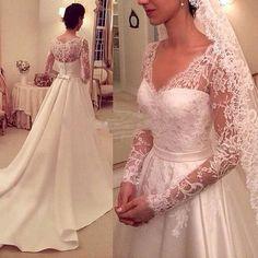 >> Click to Buy << Elegant Satin Appliques V-Neck A-Line Floor Length Wedding Dress Hot Sale Full Sleeves Vestido De Noiva China VB025 #Affiliate