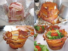 """""""Weave"""" bacon strips around the bottom of a muffin tin covered in aluminum foil (to catch the drippings). Bake 375 for 15-20 mins and you have delicious bacon bowls. :-)"""
