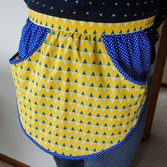 Clothes Peg Apron,Clothes Pin Apron,Womens Retro Apron,Laundry Apron,Apron with Pockets,Yellow Blue & White Bunting,Flags and Spots,PinnyPeg by PinnyPegs on Etsy