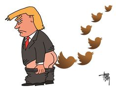 Arend Van Dam - politicalcartoons.com - Twitter President - English - Trump, Twitter, social media, fake news, lies