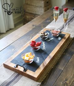 Chalkboard and Wood Serving Tray Christmas Gift Idea