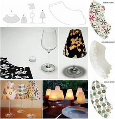 Turn A Wine Glass Into A Lampshade... Reusing scraps of old material and cardboard to make the template