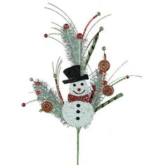 "Snowman Sequin Ball Twig Spray Size: 27"" length Color: White, Black, Lime, Red, Silver  This item is on order and arriving Summer 2015"