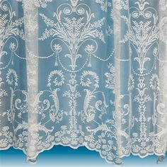 Victoria Net Curtains ~ Boutique Damask Design ~ Sold By The Metre ~ Lace Voile Damask Curtains, Voile Curtains, Hanging Curtains, White Curtain Tracks, Curtain Wire, Lace Window, English Country Cottages, Curtain Material, Victorian Lace