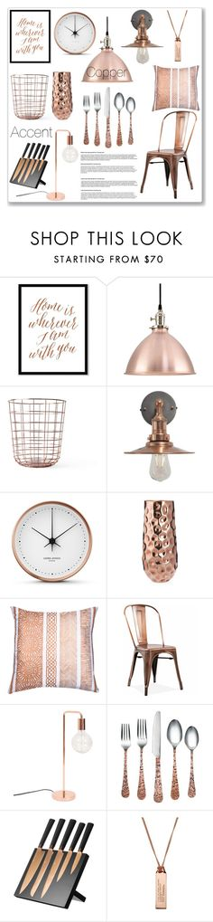 """Copper Accent"" by lisajean1957 ❤ liked on Polyvore featuring interior, interiors, interior design, home, home decor, interior decorating, West Elm, Menu, Georg Jensen and Bandhini Homewear Design"