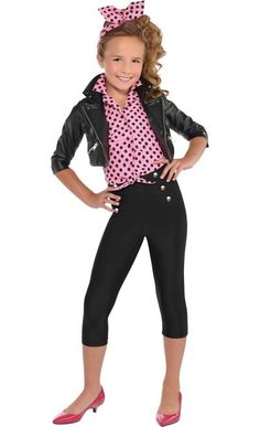 380ab2c53 She's rocking a retro look with a cute rockabilly costume for girls. This  Greaser Costume includes a faux leather jacket, pedal pushers, a  button-down shirt ...