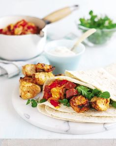 Chicken And Chorizo Wraps Recipe. Attempt A Taste Of Spain With These Chicken And Chorizo Wraps. Veggies Can Replace The Chorizo With Diced Courgette, And Haloumi Instead Of The Chicken. Wrap Recipes, Lunch Recipes, Vegetarian Recipes, Cooking Recipes, Dinner Recipes, Delicious Magazine Recipes, How To Cook Chorizo, Chicken Chorizo, Chorizo Recipes