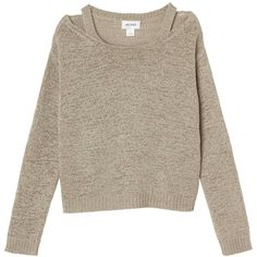 Monki Helena knitted top ($11) ❤ liked on Polyvore featuring tops, sweaters, jumpers, shirts, beach footprint, summer jumpers, summer beach tops, brown shirt, monki and brown sweater