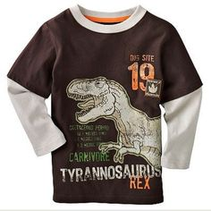 Dino children boy clothes Baby Boys T-Shirts Long Sleeve dinosaur Kids Tees Shirts 100% Cotton Tops Infant t shirt #Affiliate