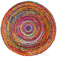Round Tan Chindi Sisal Colorful Woven Area Braided Rag Rug - 4 ft