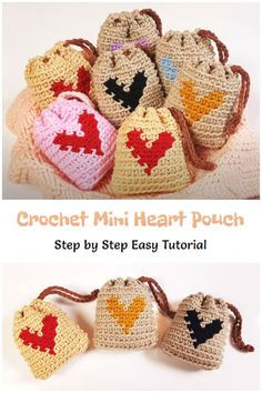 We are going to learn How to Crochet Mini Heart Pouch. These cute crochet pouches are simple enough to work up a whole bunch before heart day. Looking for an adorable purse that's a little different? Then you'll love this so easy way to crochet Valentine bag, whose design is different from everything you've seen so far! Free Crochet Bag, Crochet Purse Patterns, Crochet Pouch, Crochet Purses, Cute Crochet, Knit Crochet, Crochet Bags, Crochet Ideas, Mini Heart