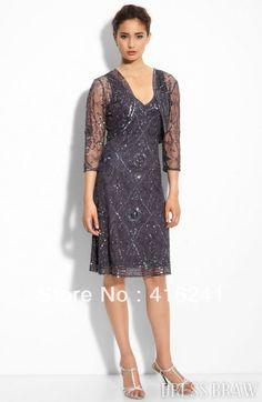 Chiffon Gray Knee Length Sheath Elegant Fashion Vintage V-Neck Hand Work Beading Mother Of The Bride Dresses With Jacket 213 $142.00