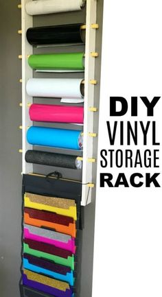 Vinyl Storage Rack for Rolls and Sheets DIY Vinyl Storage Rack for Rolls and Sheets. Compact way to store your crafting vinyl with easy access. DIY Vinyl Storage Rack for Rolls and Sheets. Compact way to store your crafting vinyl with easy access. Diy Vinyl Storage Rack, Craft Room Storage, Craft Organization, Vinyl Crafts, Jar Crafts, Bottle Crafts, Craft Room Design, Cricut Craft Room, Craft Rooms