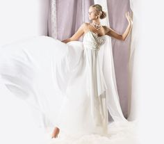 wedding dress-Chiffon wedding dress-Flowy airy wedding dress-simple wedding dress-Wedding dres with lace-modern and sexy gown