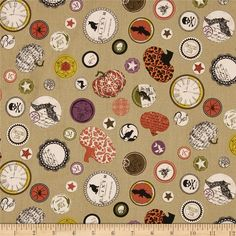 Chillingsworth Spooky Collage Khaki from @fabricdotcom  Designed by Echo Park Paper Co. for Andover, this cotton print is perfect for quilting, apparel and home decor accents.  Colors include black, cream, khaki, orange, purple, yellow and green.