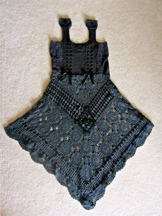 Victorian GOTHIC Black Lace Crocheted  Dress Gothic by IzzyRoo, $225.00